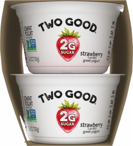 Two Good Strawberry and Vanilla Greek Low Fat Yogurt Perspective: left