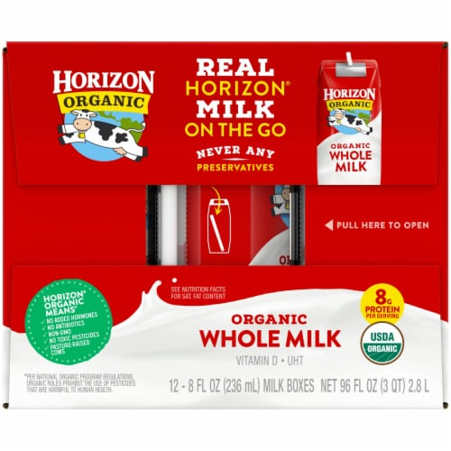Horizon Organic Whole Milk Cartons Perspective: left