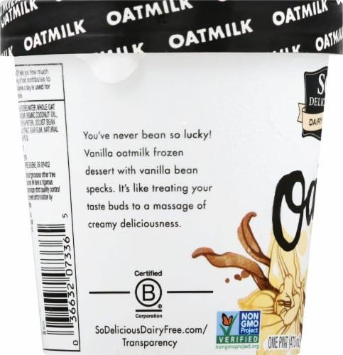 SO Delicious Oatmilk Creamy Vanilla Bean Frozen Dessert Perspective: left