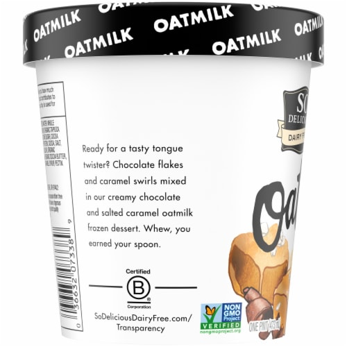 SO Delicious Oatmilk Chocolate Salted Caramel Dairy Free Frozen Dessert Perspective: left