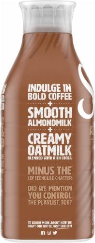 Silk Mocha Almond & Oat Latte Dairy-Free Coffee Beverage Perspective: left