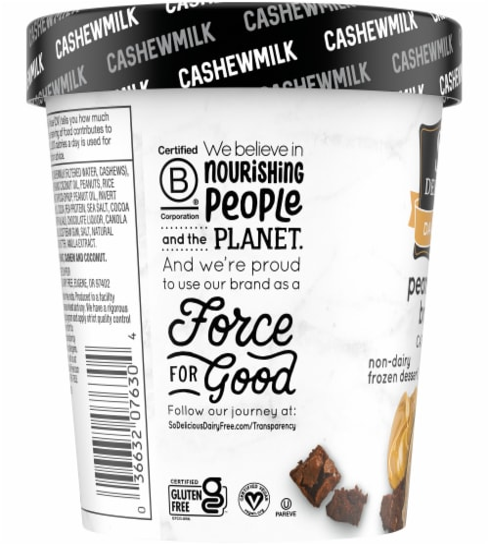 SO Delicious Peanut Butter Brownie Cashewmilk Non-Dairy Frozen Dessert Perspective: left