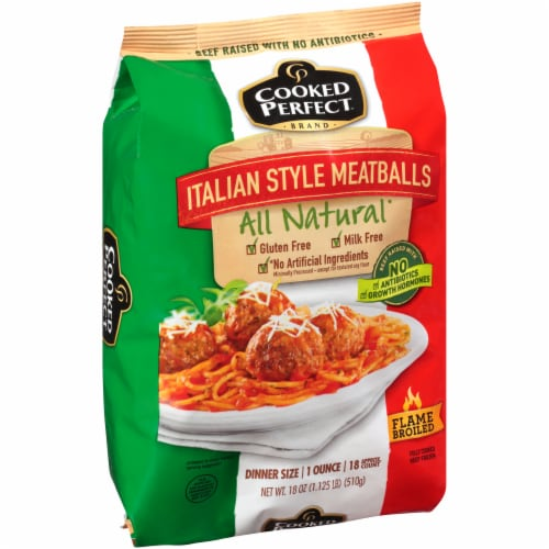 Cooked Perfect Italian Style Meatballs Perspective: left