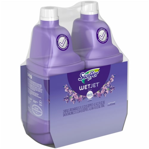 Swiffer® WetJet Multi-Purpose Lavender Vanilla Floor Cleaner Solution with Febreze Twin Pack Perspective: left