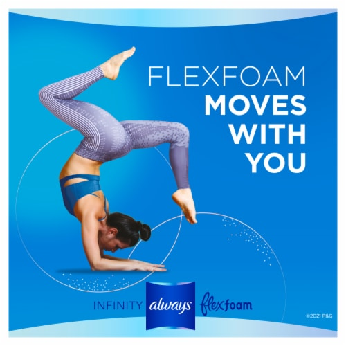 Always® Infinity FlexFoam Size 2 Heavy Flow Unscented Pads Without Wings Perspective: left