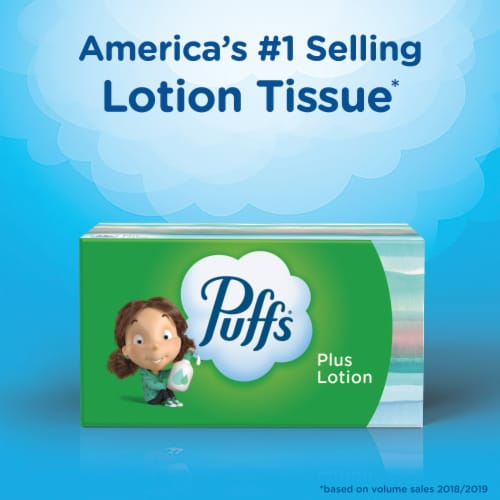 Puffs Plus Lotion Facial Tissues Perspective: left