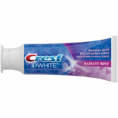 Crest 3D White Whitening Toothpaste Radiant Mint Perspective: left