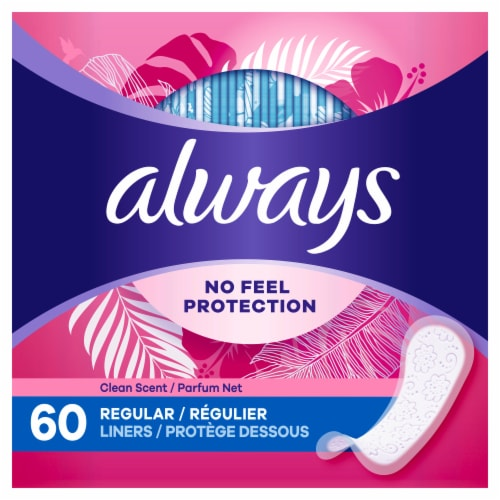 Always Clean Scent Thin Regular Wrapped Daily Liners Perspective: left