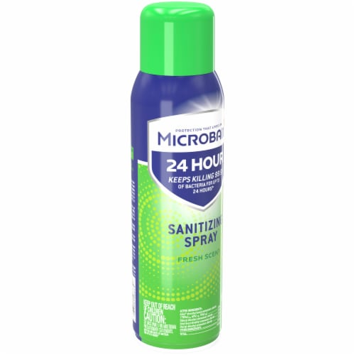 Microban 24 Hour Fresh Scent Disinfectant Sanitizing Spray Perspective: left