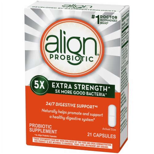 Align 5X Extra Strength Digestive Health Probiotic Supplement Capsules Perspective: left