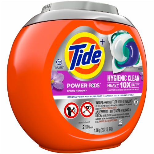 Tide Spring Meadow Hygienic Clean Heavy Duty Power Pods Perspective: left