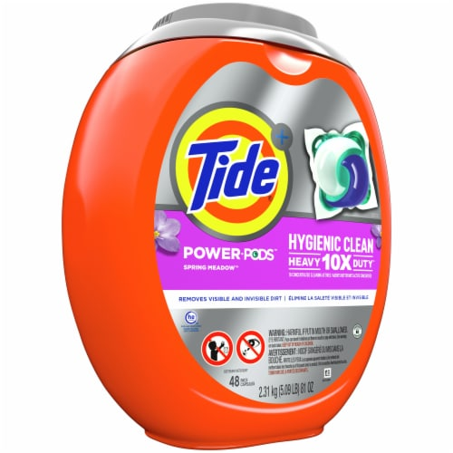 Tide Power Pods Hygienic Clean Heavy Duty Spring Meadow Perspective: left