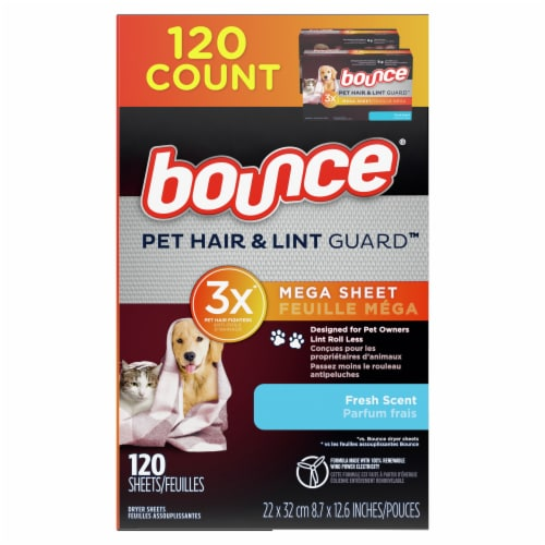 Bounce® Pet Hair and Lint Guard™ Fresh Scent Dryer Sheets Perspective: left