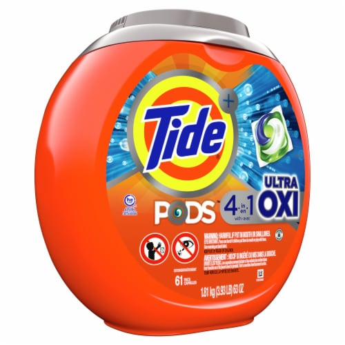 Tide PODS Ultra Oxi Liquid Laundry Detergent Pacs Perspective: left