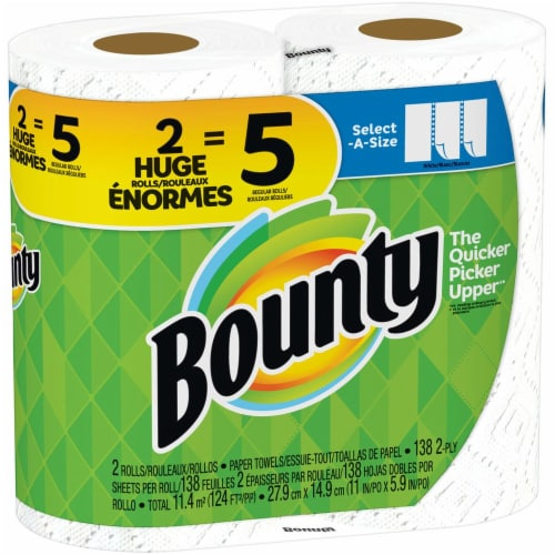 Bounty Select-A-Size Double Plus Rolls Paper Towels Perspective: left