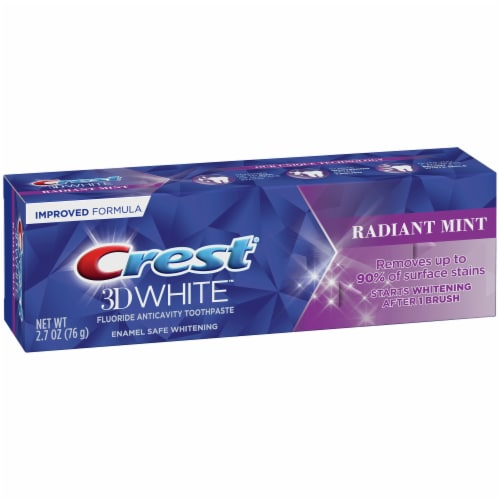 Crest® 3D White™ Radiant Mint Whitening Toothpaste Perspective: left