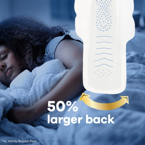 Always Infinity FlexFoam Size 4 Overnight Unscented Pads with Flex-Wings Perspective: left