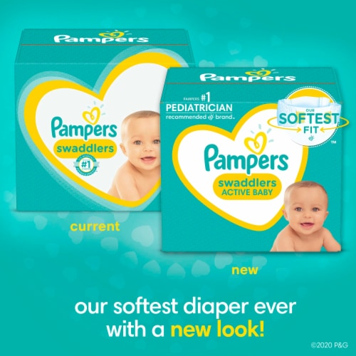 Pampers Swaddlers Size 1 Baby Diapers Enormous Pack Perspective: left