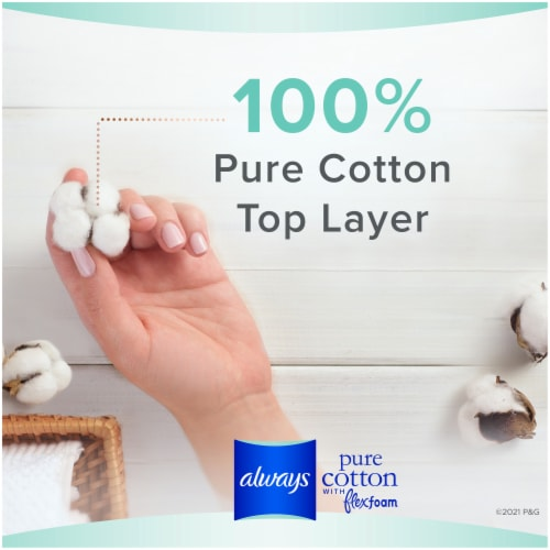 Always Pure Cotton FlexFoam Size 2 Heavy Flow Pads with Wings Perspective: left