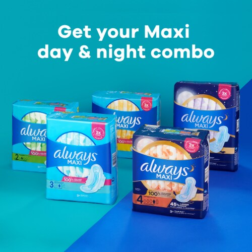 Always Maxi Size 4 Overnight Absorbency Unscented Pads with Wings Perspective: left