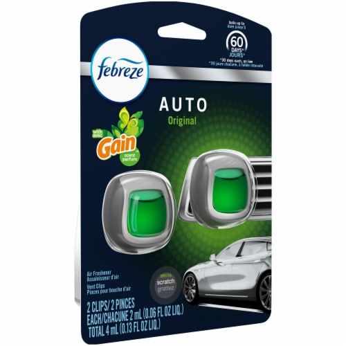 Febreze Auto Original with Gain Scent Air Freshener Car Vent Clips Perspective: left