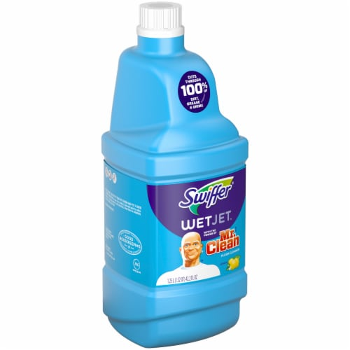 Swiffer WetJet Refill with the Power of Mr. Clean Lemon Floor Cleaner Perspective: left