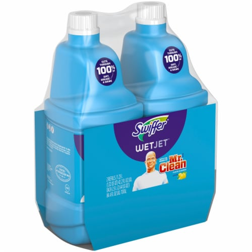 Swiffer® WetJet with Lemon Liquid Floor Cleaner Refill Twin Pack Perspective: left