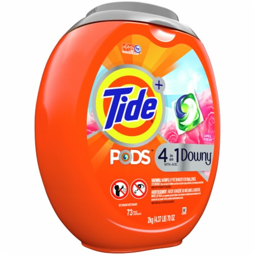 Tide 4-in-1 Downy April Fresh Liquid Laundry Pods Perspective: left