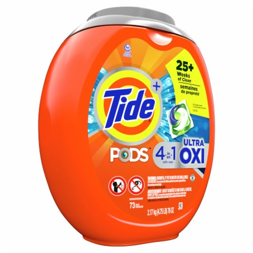 Tide PODS 4 in 1 Ultra Oxi Liquid Laundry Detergent Pacs Perspective: left