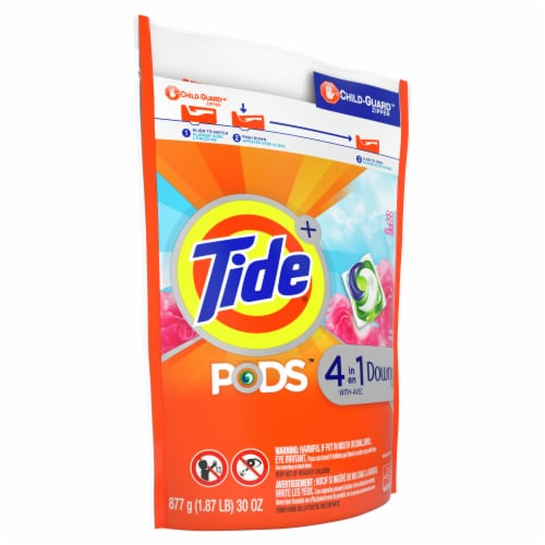 Tide Pods + 4-in-1 Downy April Fresh Detergent Pacs Perspective: left