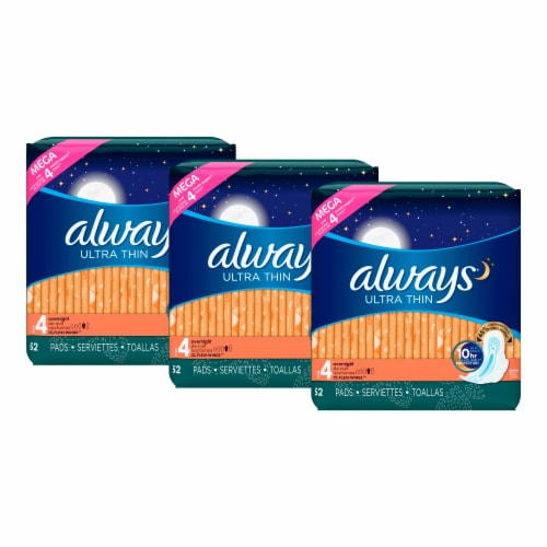 Always Ultra Thin Size 4 Overnight Pads with Wings Perspective: left