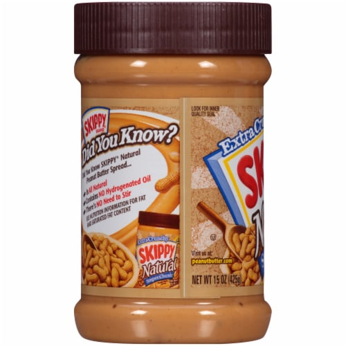 Skippy® Natural Super Chunk Extra Chunky Peanut Butter Spread Perspective: left