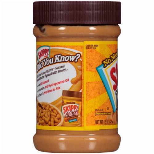 Skippy Natural Creamy Peanut Butter Spread with Honey Perspective: left