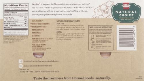 HORMEL NATURAL CHOICE Original Uncured Bacon Perspective: left