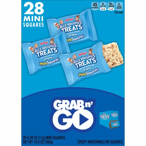 Rice Krispies Treats Grab n' Go Mini Squares Original Crispy Marshallow Squares 28 Count Perspective: left