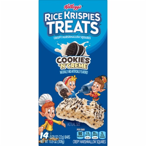 Kellogg's Rice Krispies Treats Marshmallow Squares Bars Cookies 'N' Creme Perspective: left