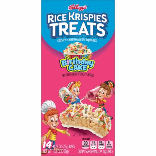Kellogg's Rice Krispies Treats Marshmallow Squares Bars Birthday Cake Perspective: left