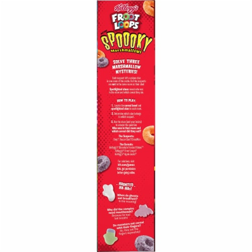 Kellogg's Froot Loops with Spooky Marshmallows Cereal Perspective: left