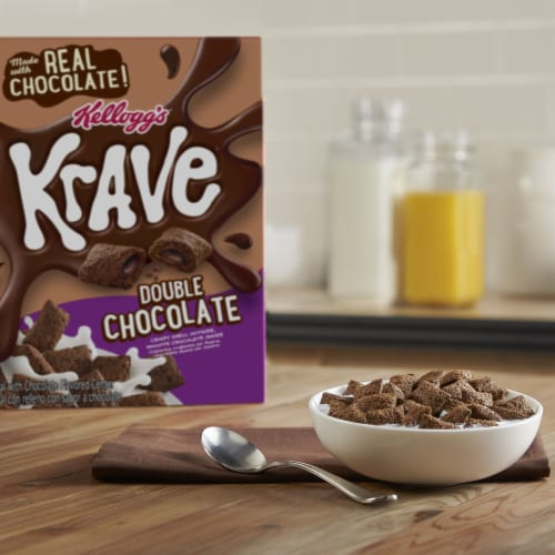 Kellogg's Krave Breakfast Cereal Double Chocolate Perspective: left