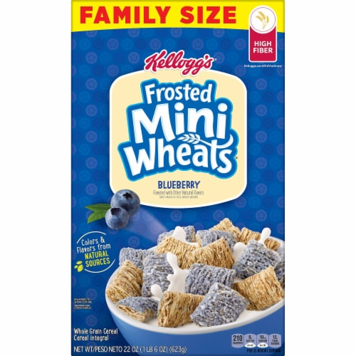 Frosted Mini-Wheats Blueberry Flavored Cereal Family Size Perspective: left