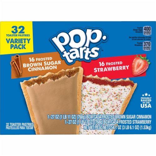 Pop-Tarts Frosted Brown Sugar Cinnamon & Frosted Strawberry Toaster Pastries Perspective: left