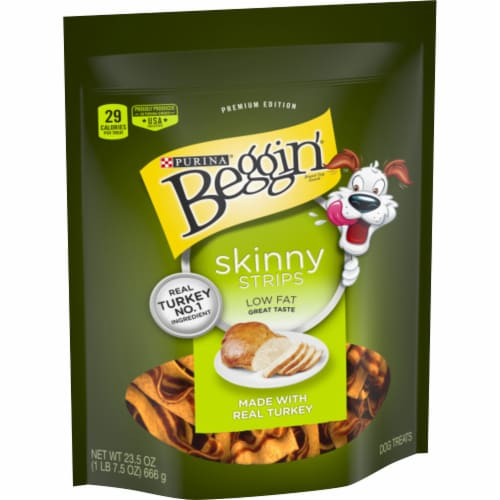 Beggin' Turkey Skinny Strips Dog Treats Perspective: left