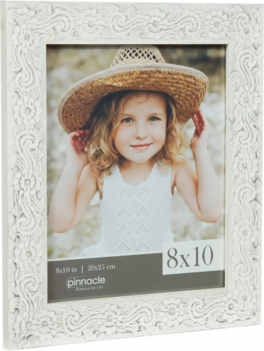 Pinnacle Flower Scroll Picture Frame - White Perspective: left