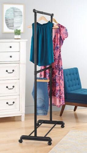 Whitmor 2-Rod Adjustable Garment Rack - Black/Silver Perspective: left