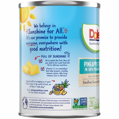 Dole Canned Pineapple Tidbits in 100%  Pineapple Juice Perspective: left