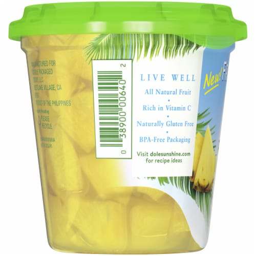 Dole Fridge Pack Pineapple Chunks in 100% Pineapple Juice Perspective: left