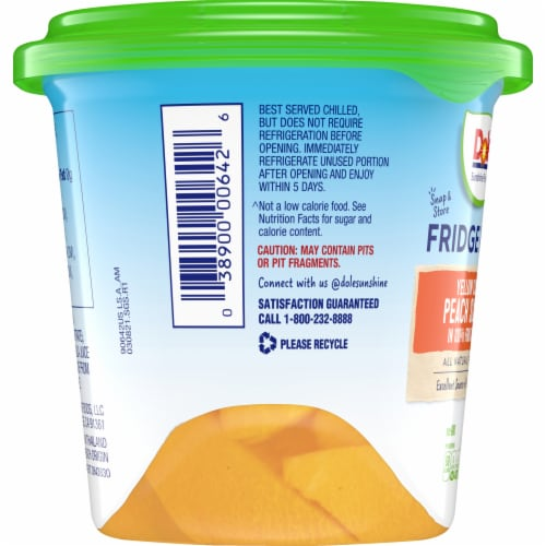 Dole Fridge Pack Yellow Cling Peaches in 100% Fruit Juice Perspective: left