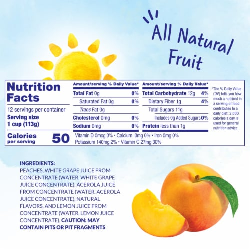 Dole Diced Peaches in 100% Fruit Juice Cups Perspective: left