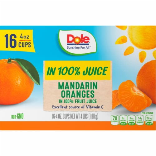 Dole Mandarin Oranges in 100% Fruit Juice Perspective: left
