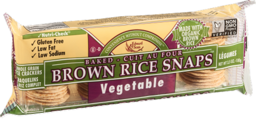 Edward & Sons Brown Rice Snaps Vegetable Flavor Perspective: left